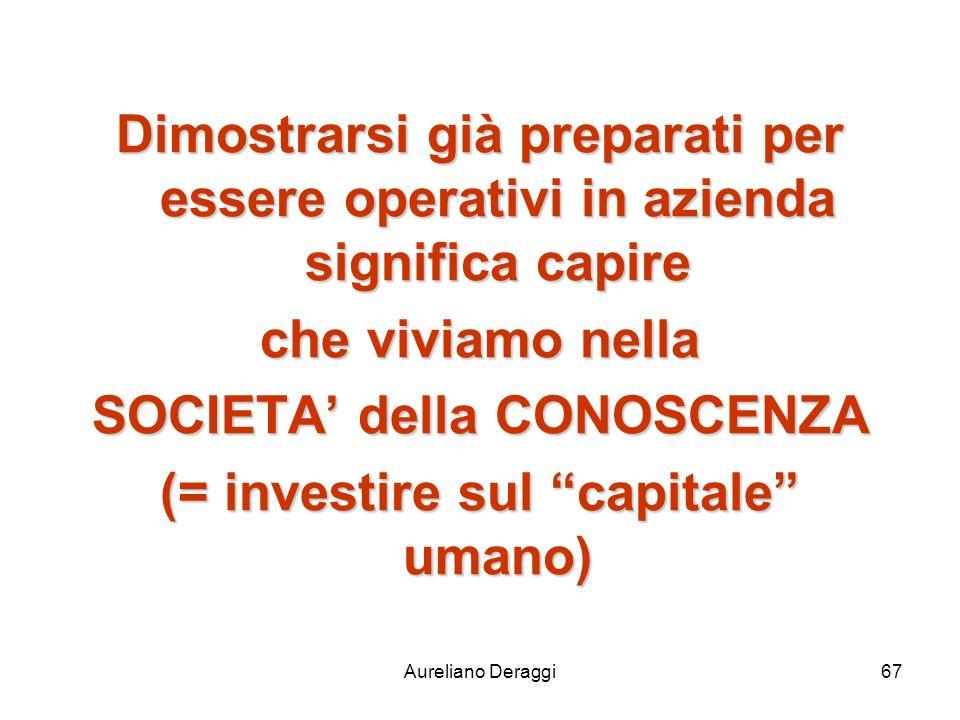 Aureliano Deraggi67 Dimostrarsi già preparati per essere operativi in azienda significa capire che viviamo nella SOCIETA della CONOSCENZA (= investire
