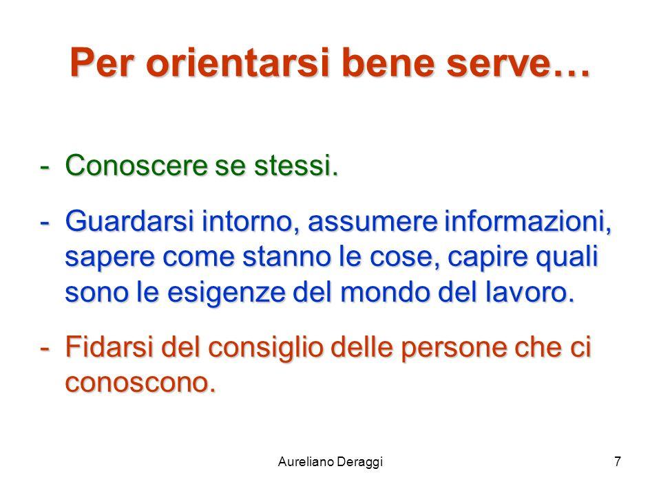 Aureliano Deraggi7 Per orientarsi bene serve… -Conoscere se stessi. -Guardarsi intorno, assumere informazioni, sapere come stanno le cose, capire qual