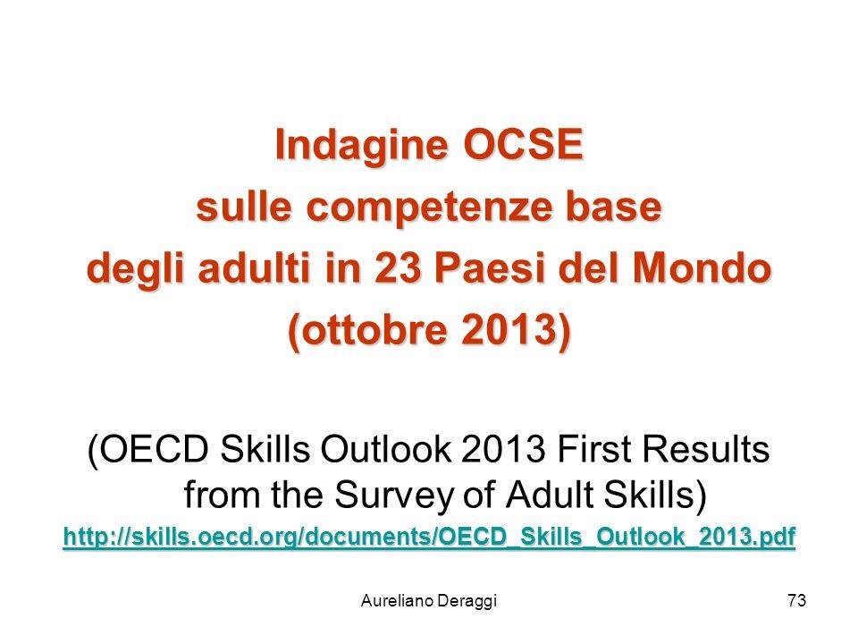 Aureliano Deraggi73 Indagine OCSE sulle competenze base degli adulti in 23 Paesi del Mondo (ottobre 2013) (OECD Skills Outlook 2013 First Results from