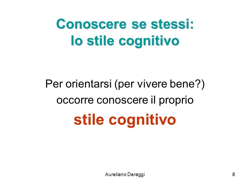 Aureliano Deraggi8 Conoscere se stessi: lo stile cognitivo Per orientarsi (per vivere bene?) occorre conoscere il proprio stile cognitivo