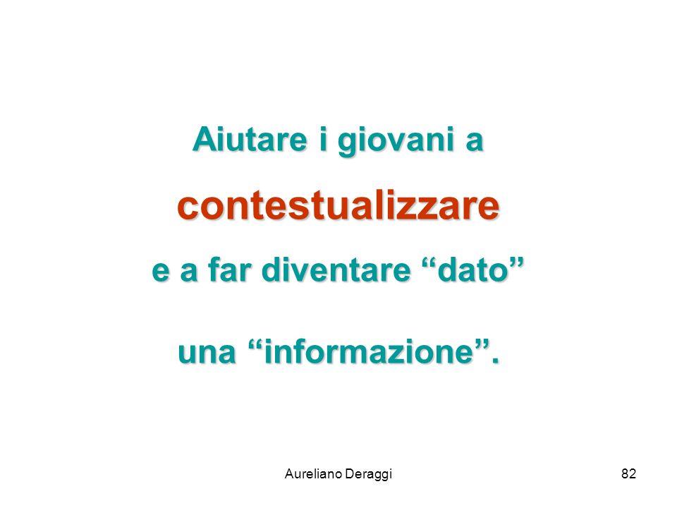 Aureliano Deraggi82 Aiutare i giovani a contestualizzare e a far diventare dato una informazione.