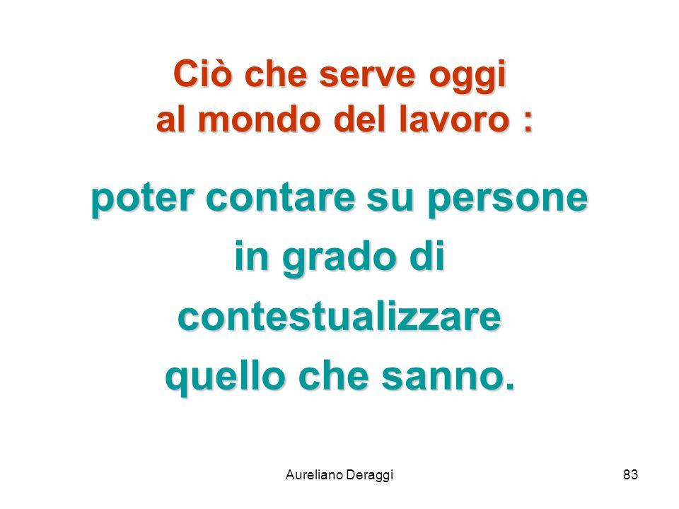 Aureliano Deraggi83 Ciò che serve oggi al mondo del lavoro : poter contare su persone in grado di contestualizzare quello che sanno.