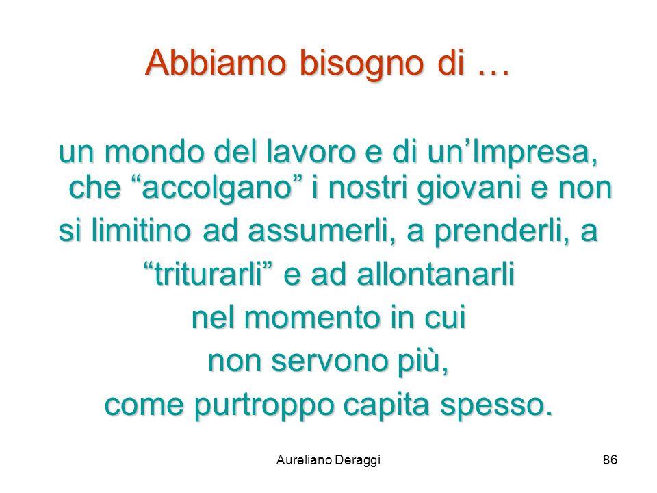 Aureliano Deraggi86 Abbiamo bisogno di … un mondo del lavoro e di unImpresa, che accolgano i nostri giovani e non si limitino ad assumerli, a prenderl