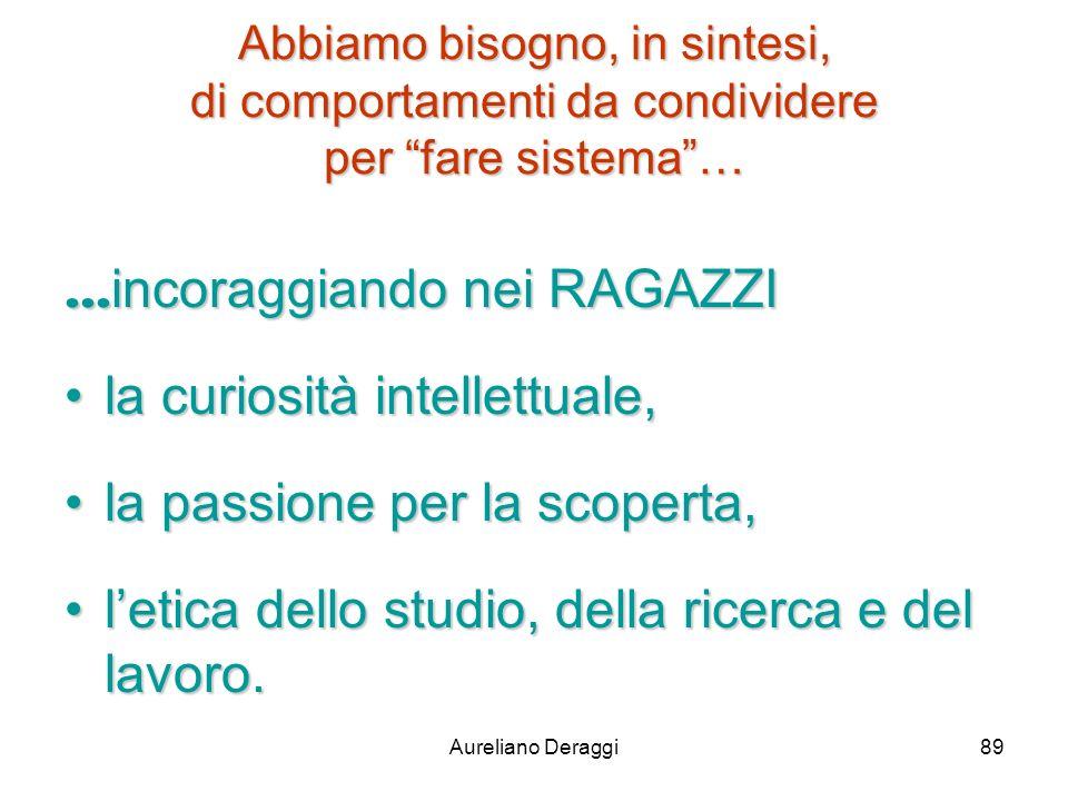 Aureliano Deraggi89 Abbiamo bisogno, in sintesi, di comportamenti da condividere per fare sistema…... incoraggiando nei RAGAZZI la curiosità intellett