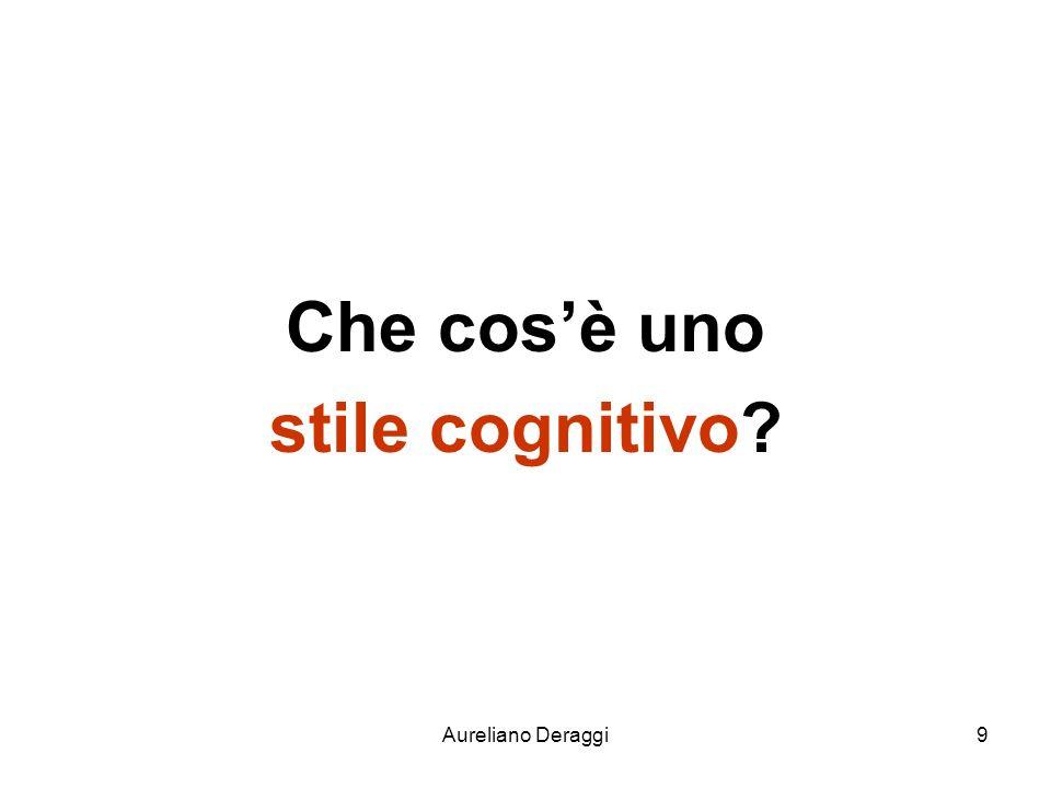 Aureliano Deraggi20 stile sistematico Evidenzia la preferenza per un apprendimento basato sulla analisi di una variabile alla volta, che si mette in relazione con le altre, fino a trovare quella che ha la maggior probabilità di essere la più corretta.