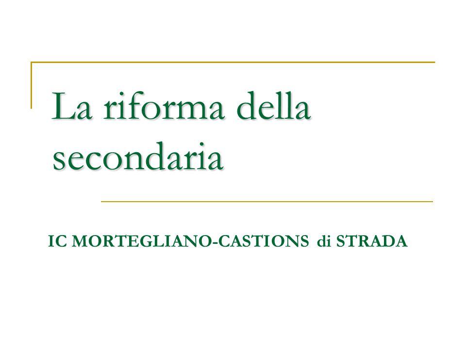 La riforma della secondaria IC MORTEGLIANO-CASTIONS di STRADA