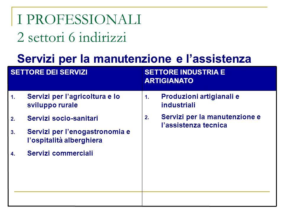 I PROFESSIONALI 2 settori 6 indirizzi Servizi per la manutenzione e lassistenza tecnica SETTORE DEI SERVIZISETTORE INDUSTRIA E ARTIGIANATO 1. Servizi