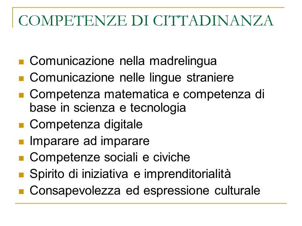 COMPETENZE DI CITTADINANZA Comunicazione nella madrelingua Comunicazione nelle lingue straniere Competenza matematica e competenza di base in scienza
