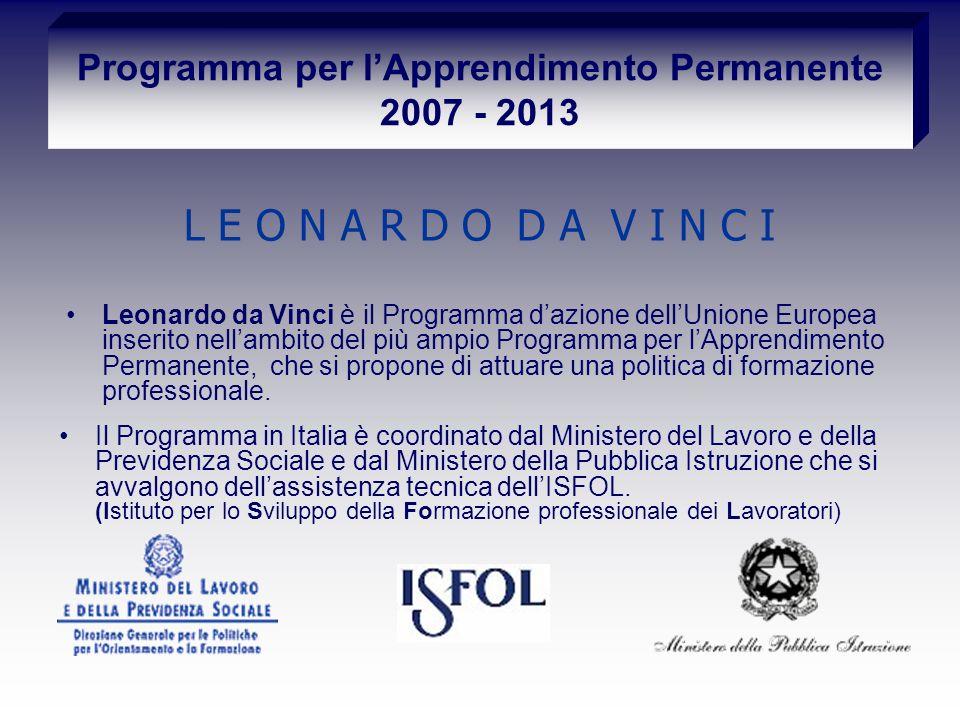 Programma per lApprendimento Permanente 2007 - 2013 Leonardo da Vinci è il Programma dazione dellUnione Europea inserito nellambito del più ampio Programma per lApprendimento Permanente, che si propone di attuare una politica di formazione professionale.