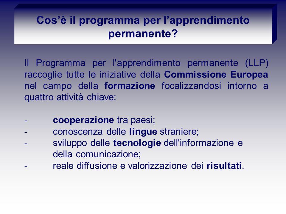 Il Programma per l apprendimento permanente (LLP) raccoglie tutte le iniziative della Commissione Europea nel campo della formazione focalizzandosi intorno a quattro attività chiave: - cooperazione tra paesi; - conoscenza delle lingue straniere; - sviluppo delle tecnologie dell informazione e della comunicazione; - reale diffusione e valorizzazione dei risultati.