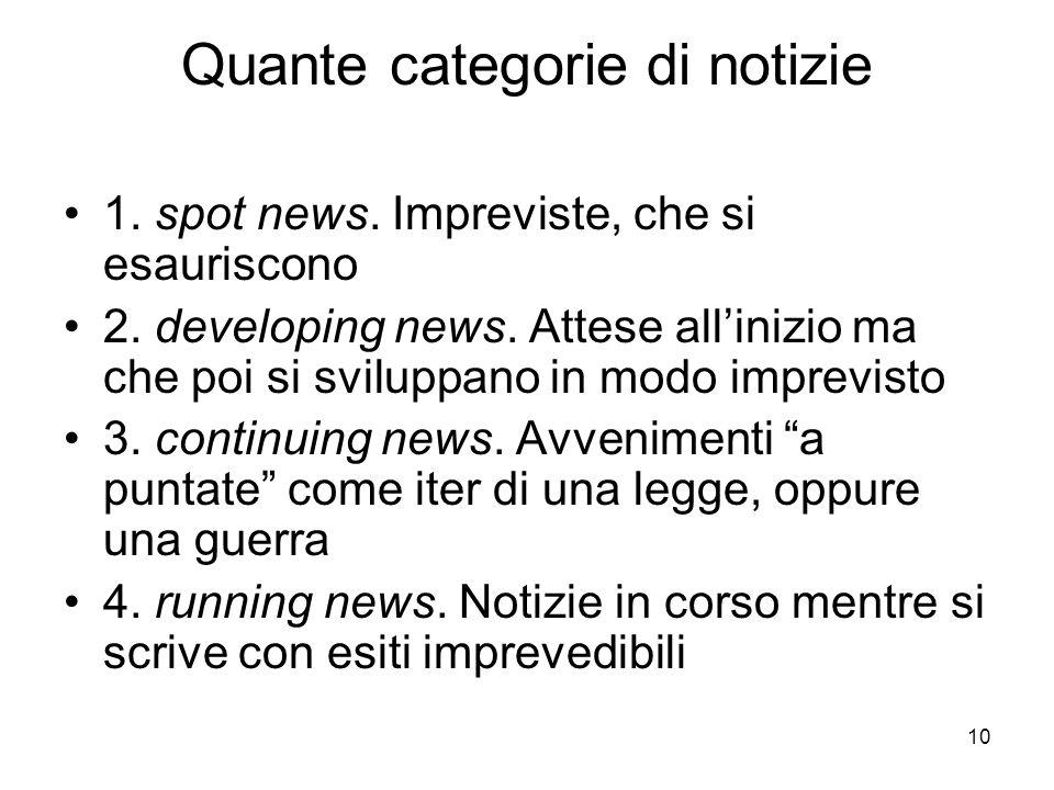 10 Quante categorie di notizie 1. spot news. Impreviste, che si esauriscono 2. developing news. Attese allinizio ma che poi si sviluppano in modo impr