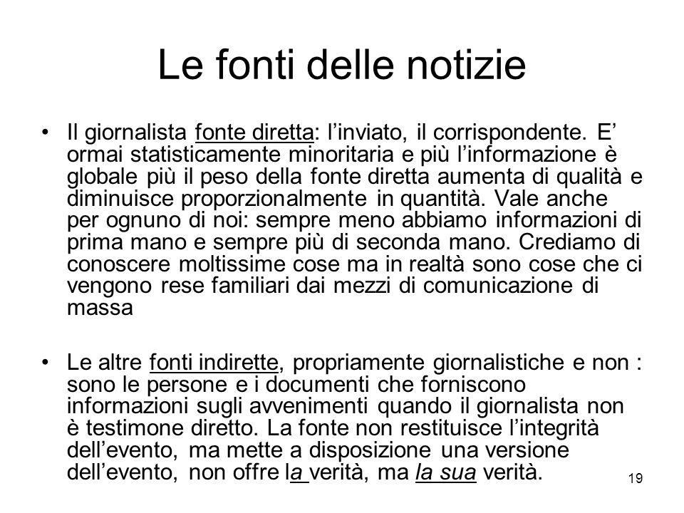 19 Le fonti delle notizie Il giornalista fonte diretta: linviato, il corrispondente.
