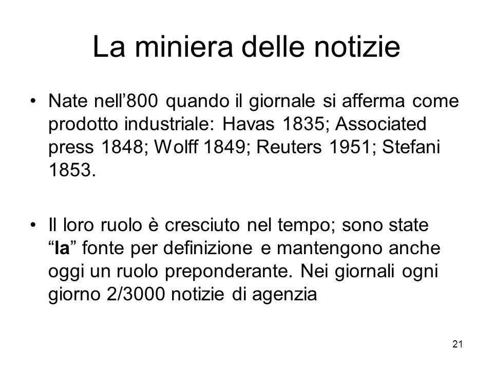 21 La miniera delle notizie Nate nell800 quando il giornale si afferma come prodotto industriale: Havas 1835; Associated press 1848; Wolff 1849; Reuters 1951; Stefani 1853.