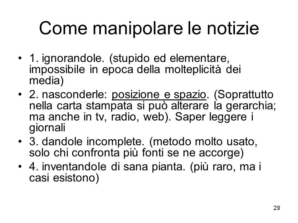 29 Come manipolare le notizie 1. ignorandole.
