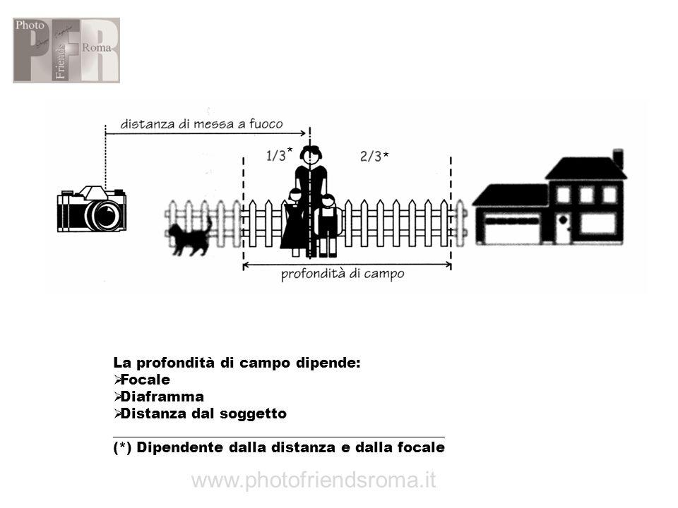 La profondità di campo dipende: Focale Diaframma Distanza dal soggetto _______________________________________________ (*) Dipendente dalla distanza e