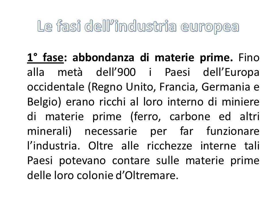 2° fase: importazione di materie prime Dalla metà del secolo scorso una parte dei giacimenti minerari in Europa occidentale si esaurisce e le colonie diventano a poco a poco indipendenti.