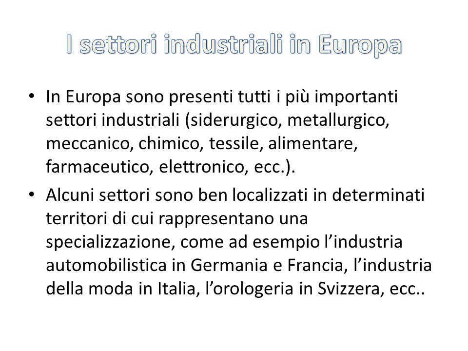 In Europa sono presenti tutti i più importanti settori industriali (siderurgico, metallurgico, meccanico, chimico, tessile, alimentare, farmaceutico,