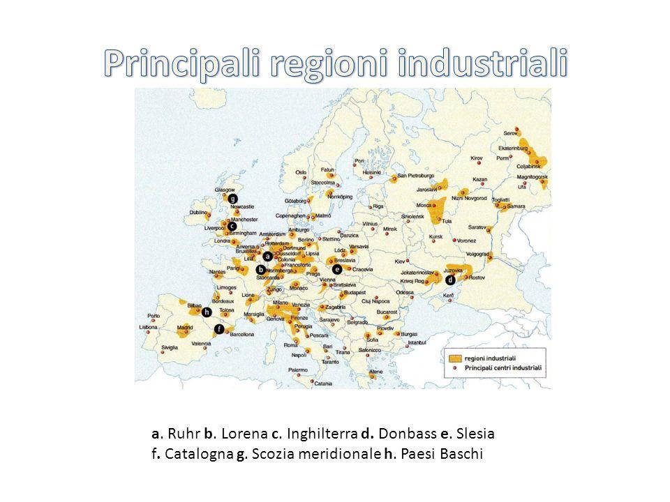 Si trovano le zone maggiormente industrializzate che corrispondono a quelle più densamente popolate e urbanizzate: regione parigina, Ruhr tedesca, Belgio, Paesi Bassi, Svizzera, Italia del nord.