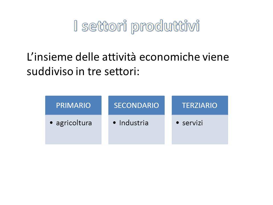 Linsieme delle attività economiche viene suddiviso in tre settori: PRIMARIO agricoltura SECONDARIO Industria TERZIARIO servizi