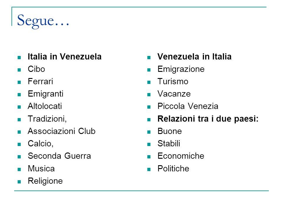 Segue… Italia in Venezuela Cibo Ferrari Emigranti Altolocati Tradizioni, Associazioni Club Calcio, Seconda Guerra Musica Religione Venezuela in Italia Emigrazione Turismo Vacanze Piccola Venezia Relazioni tra i due paesi: Buone Stabili Economiche Politiche