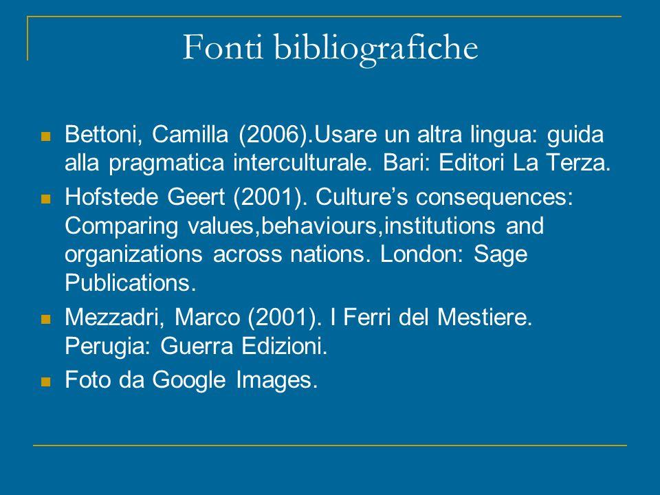 Fonti bibliografiche Bettoni, Camilla (2006).Usare un altra lingua: guida alla pragmatica interculturale.
