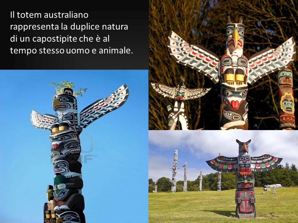 Il totem australiano rappresenta la duplice natura di un capostipite che è al tempo stesso uomo e animale.