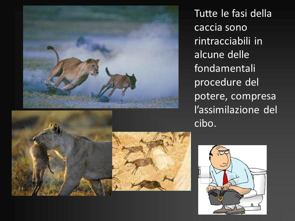 Tutte le fasi della caccia sono rintracciabili in alcune delle fondamentali procedure del potere, compresa lassimilazione del cibo.
