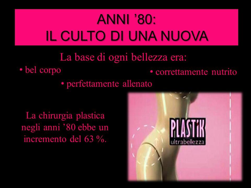 ANNI 80: IL CULTO DI UNA NUOVA BELLEZZA La base di ogni bellezza era: La chirurgia plastica negli anni 80 ebbe un incremento del 63 %. perfettamente a