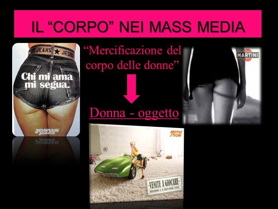 IL CORPO NEI MASS MEDIA Mercificazione del corpo delle donne Donna - oggetto
