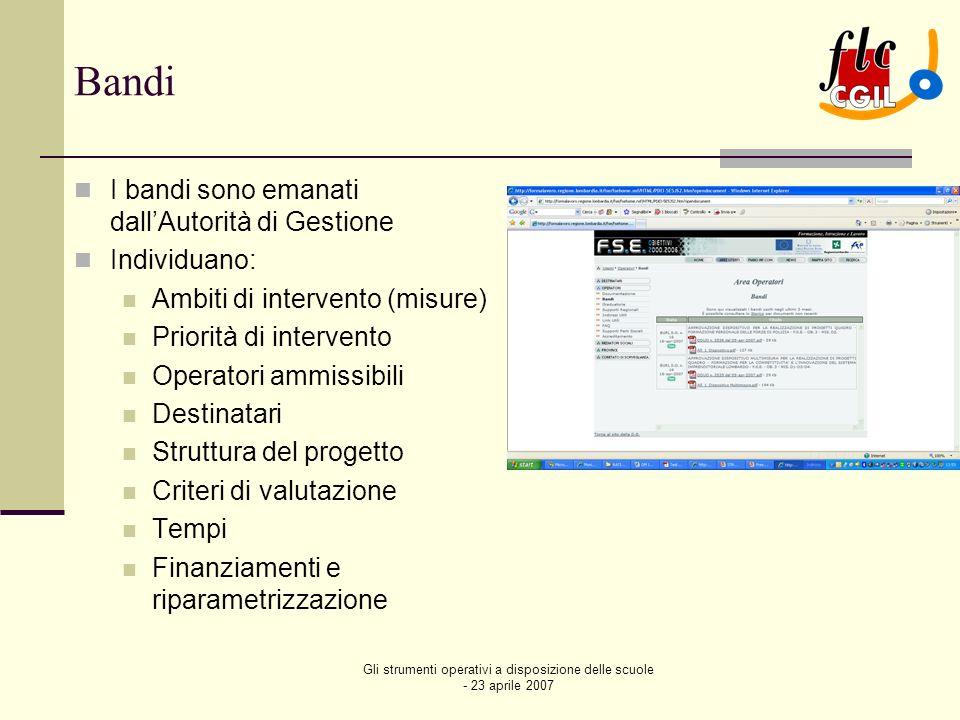 Gli strumenti operativi a disposizione delle scuole - 23 aprile 2007 Bandi La presentazione e la gestione di progetto di un bando avviene attraverso il portale MONITOR WEB