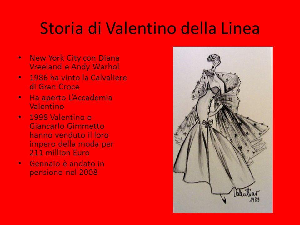 Storia di Valentino della Linea New York City con Diana Vreeland e Andy Warhol 1986 ha vinto la Calvaliere di Gran Croce Ha aperto LAccademia Valentin