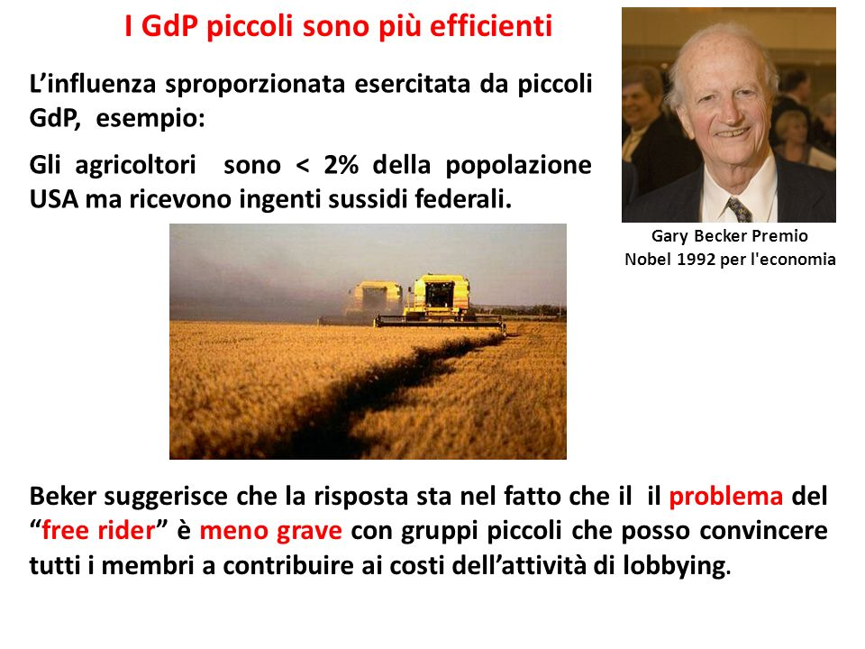 Linfluenza sproporzionata esercitata da piccoli GdP, esempio: Gli agricoltori sono < 2% della popolazione USA ma ricevono ingenti sussidi federali. Ga