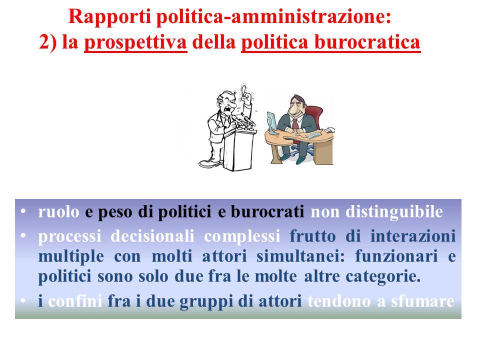 ruolo e peso di politici e burocrati non distinguibile processi decisionali complessi frutto di interazioni multiple con molti attori simultanei: funz