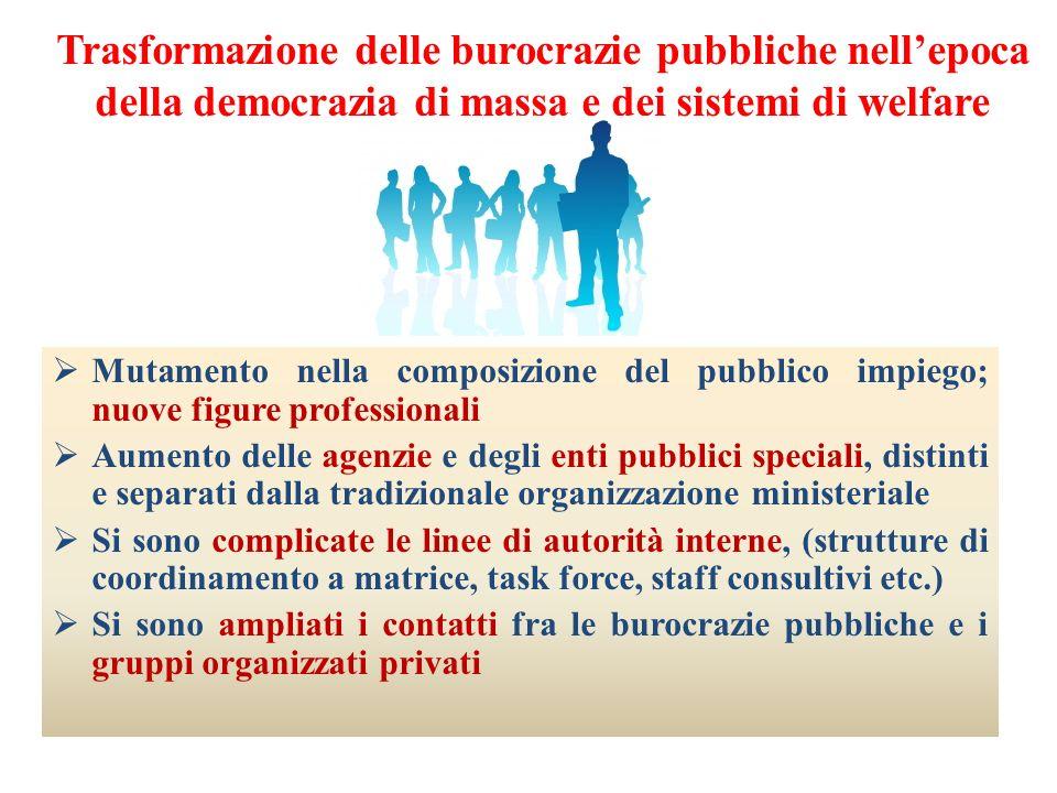 Trasformazione delle burocrazie pubbliche nellepoca della democrazia di massa e dei sistemi di welfare Mutamento nella composizione del pubblico impie
