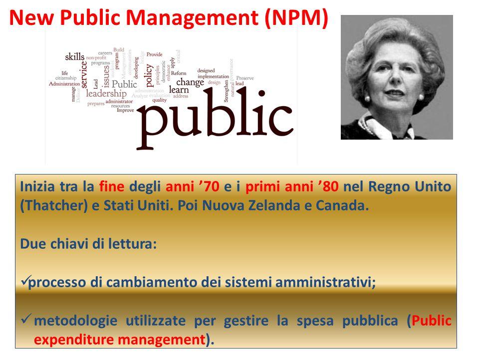 New Public Management (NPM) Inizia tra la fine degli anni 70 e i primi anni 80 nel Regno Unito (Thatcher) e Stati Uniti. Poi Nuova Zelanda e Canada. D