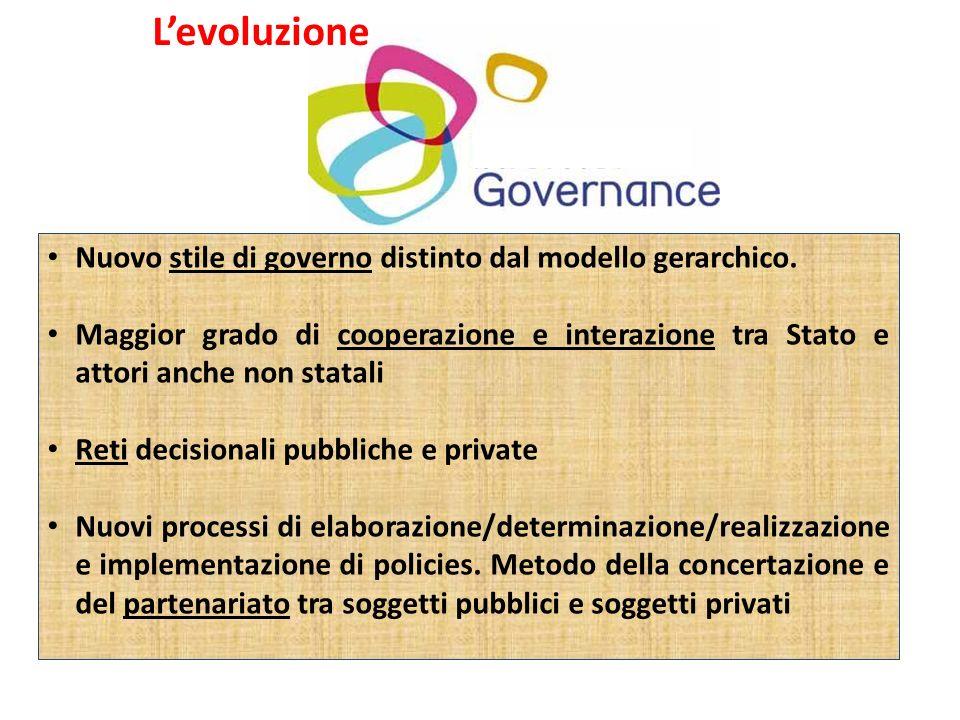 Levoluzione Nuovo stile di governo distinto dal modello gerarchico. Maggior grado di cooperazione e interazione tra Stato e attori anche non statali R