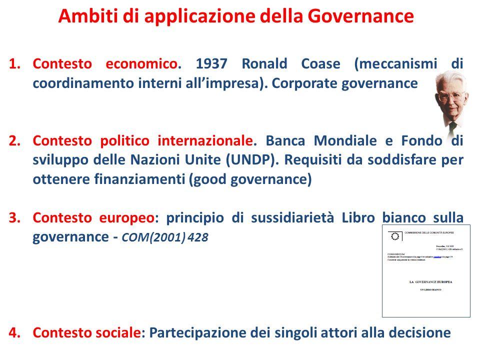Ambiti di applicazione della Governance 1.Contesto economico. 1937 Ronald Coase (meccanismi di coordinamento interni allimpresa). Corporate governance