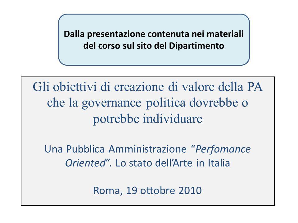 Gli obiettivi di creazione di valore della PA che la governance politica dovrebbe o potrebbe individuare Una Pubblica Amministrazione Perfomance Orien