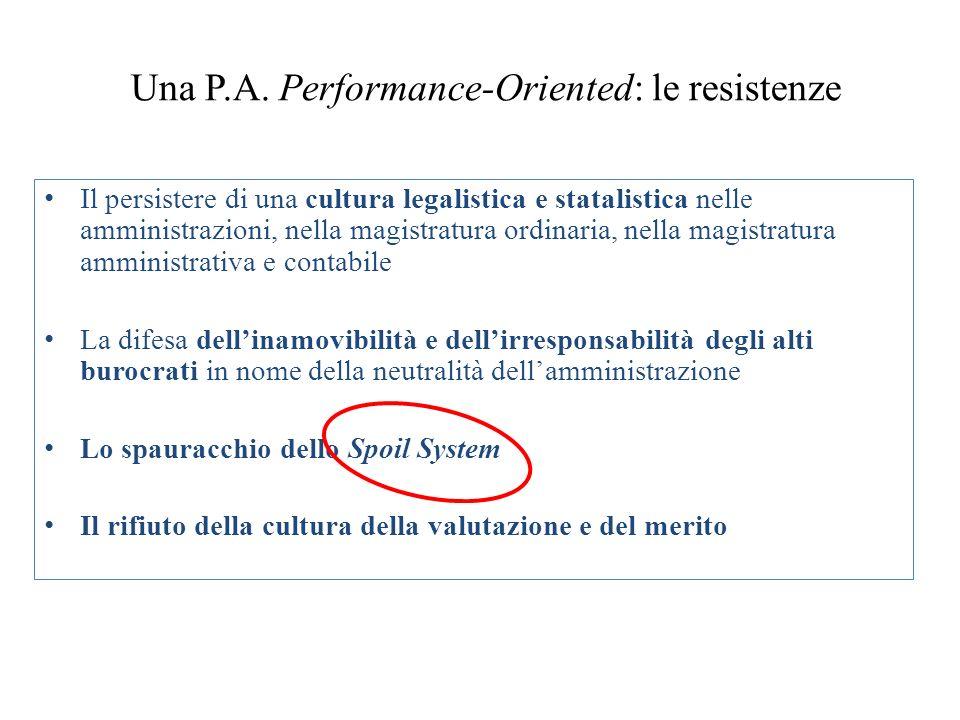 Una P.A. Performance-Oriented: le resistenze Il persistere di una cultura legalistica e statalistica nelle amministrazioni, nella magistratura ordinar