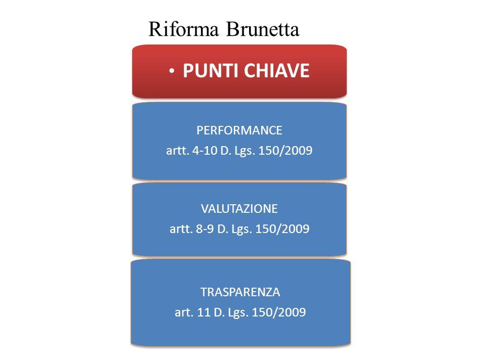 Riforma Brunetta PUNTI CHIAVE PERFORMANCE artt. 4-10 D. Lgs. 150/2009 PERFORMANCE artt. 4-10 D. Lgs. 150/2009 VALUTAZIONE artt. 8-9 D. Lgs. 150/2009 V