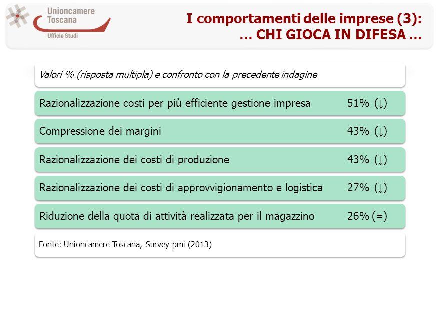 I comportamenti delle imprese (3): … CHI GIOCA IN DIFESA … Valori % (risposta multipla) e confronto con la precedente indagine Razionalizzazione costi per più efficiente gestione impresa51%( )Compressione dei margini43%( )Razionalizzazione dei costi di produzione43%( )Razionalizzazione dei costi di approvvigionamento e logistica27%( )Riduzione della quota di attività realizzata per il magazzino26%(=) Fonte: Unioncamere Toscana, Survey pmi (2013)
