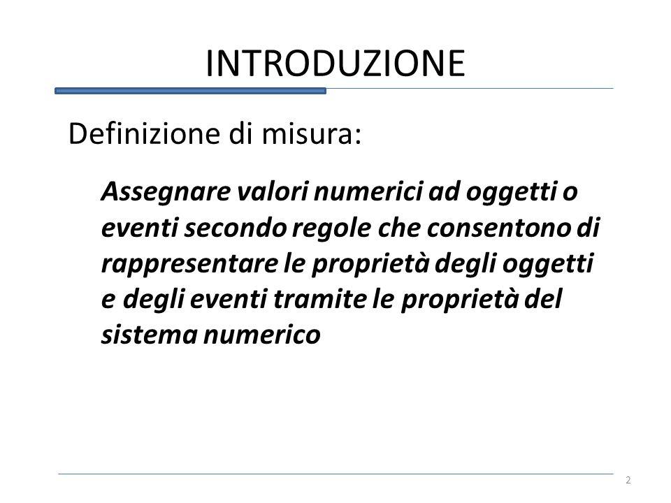 INTRODUZIONE 2 Definizione di misura: Assegnare valori numerici ad oggetti o eventi secondo regole che consentono di rappresentare le proprietà degli