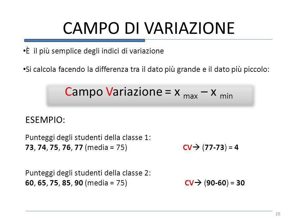 CAMPO DI VARIAZIONE Campo Variazione = x max – x min È il più semplice degli indici di variazione Si calcola facendo la differenza tra il dato più gra