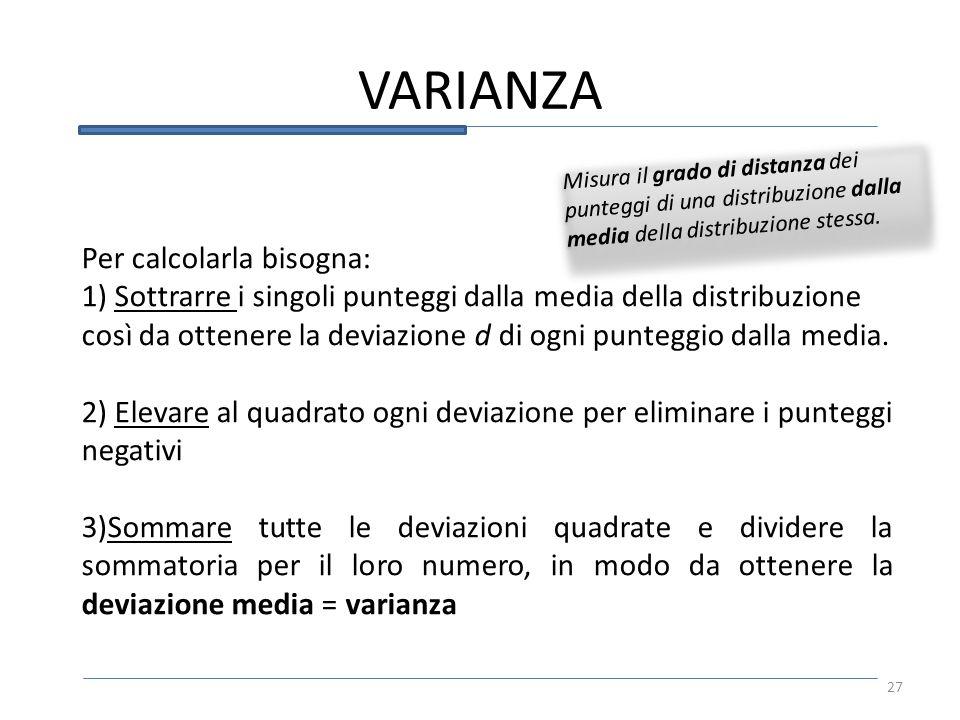 Misura il grado di distanza dei punteggi di una distribuzione dalla media della distribuzione stessa. VARIANZA Per calcolarla bisogna: 1) Sottrarre i