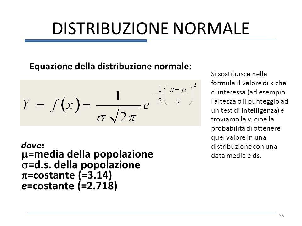 DISTRIBUZIONE NORMALE 36 Equazione della distribuzione normale: dove: =media della popolazione =d.s. della popolazione =costante (=3.14) e=costante (=