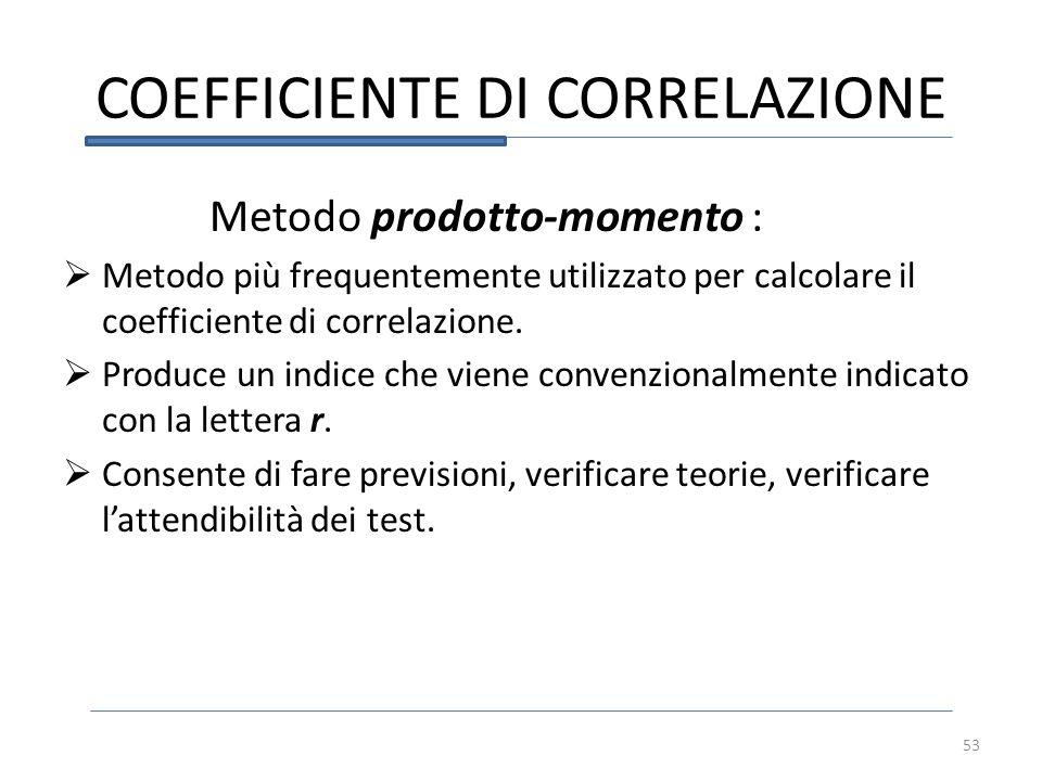 COEFFICIENTE DI CORRELAZIONE 53 Metodo prodotto-momento : Metodo più frequentemente utilizzato per calcolare il coefficiente di correlazione. Produce