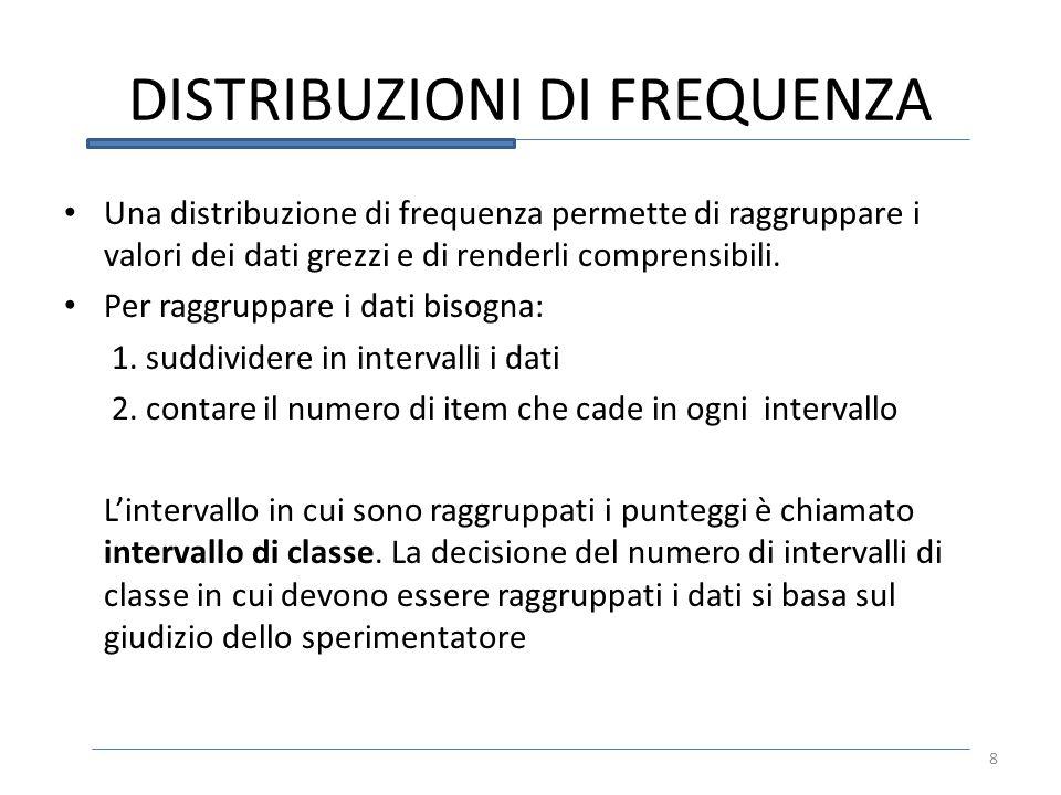 DISTRIBUZIONI DI FREQUENZA Una distribuzione di frequenza permette di raggruppare i valori dei dati grezzi e di renderli comprensibili. Per raggruppar
