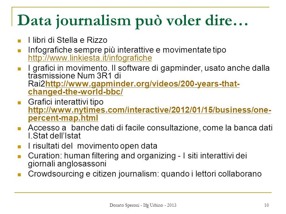 Data journalism può voler dire… I libri di Stella e Rizzo Infografiche sempre più interattive e movimentate tipo http://www.linkiesta.it/infografiche http://www.linkiesta.it/infografiche I grafici in movimento.