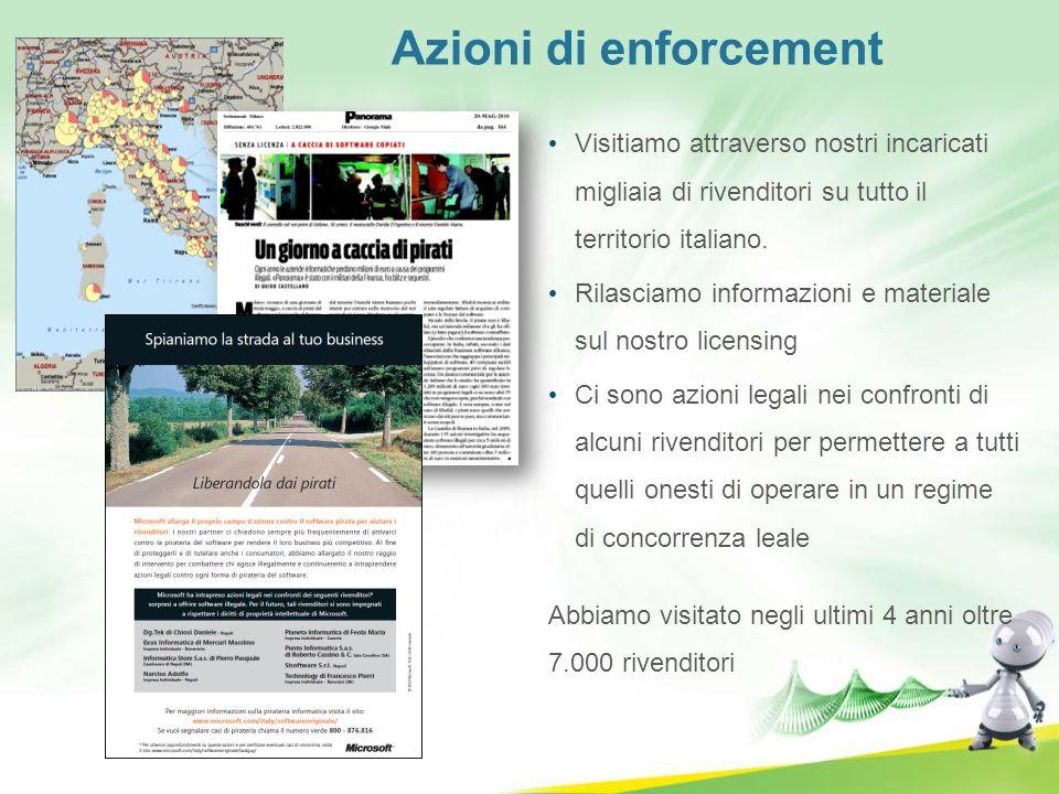 Azioni di enforcement Visitiamo attraverso nostri incaricati migliaia di rivenditori su tutto il territorio italiano. Rilasciamo informazioni e materi