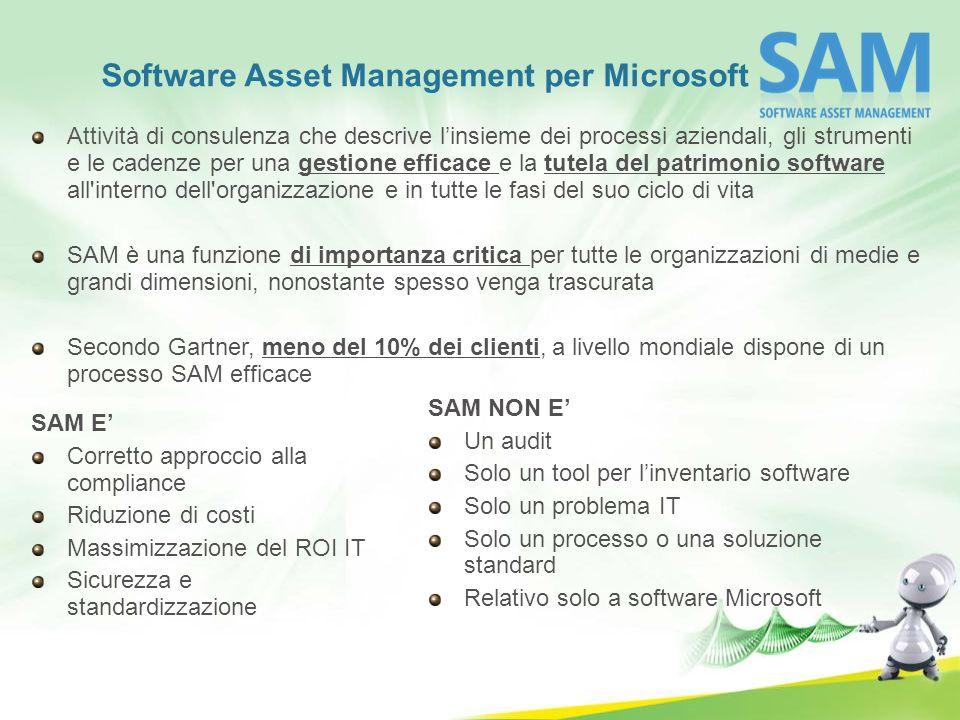 Software Asset Management per Microsoft Attività di consulenza che descrive linsieme dei processi aziendali, gli strumenti e le cadenze per una gestio